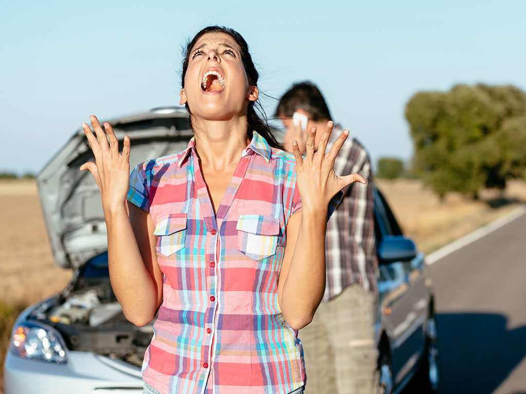 Woman frustrated car trouble