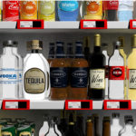 Alcohol bottles on a shelf