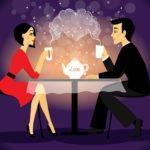 Man and woman cartoon date