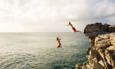 teens diving off cliff