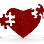 Cartoon couple mending heart