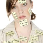 Woman with post it notes