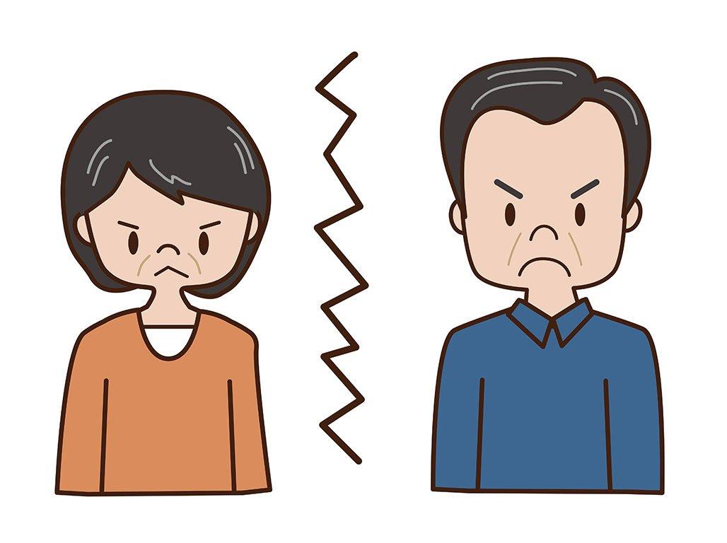 cartoon man and woman estranged