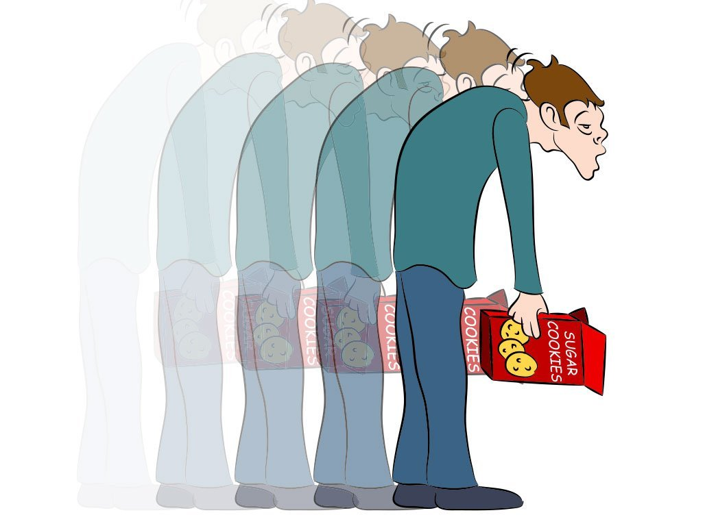 cartoon of man drooping from low blood sugar