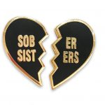 Recovery enamel black sober sisters pin