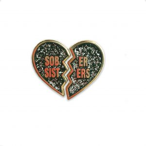 black glitter sober sisters pin set