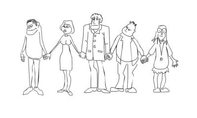 cartoon of people holding hands
