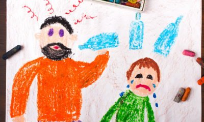 childs drawing of drinking dad