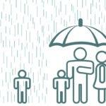 family under umbrella with one child in rain