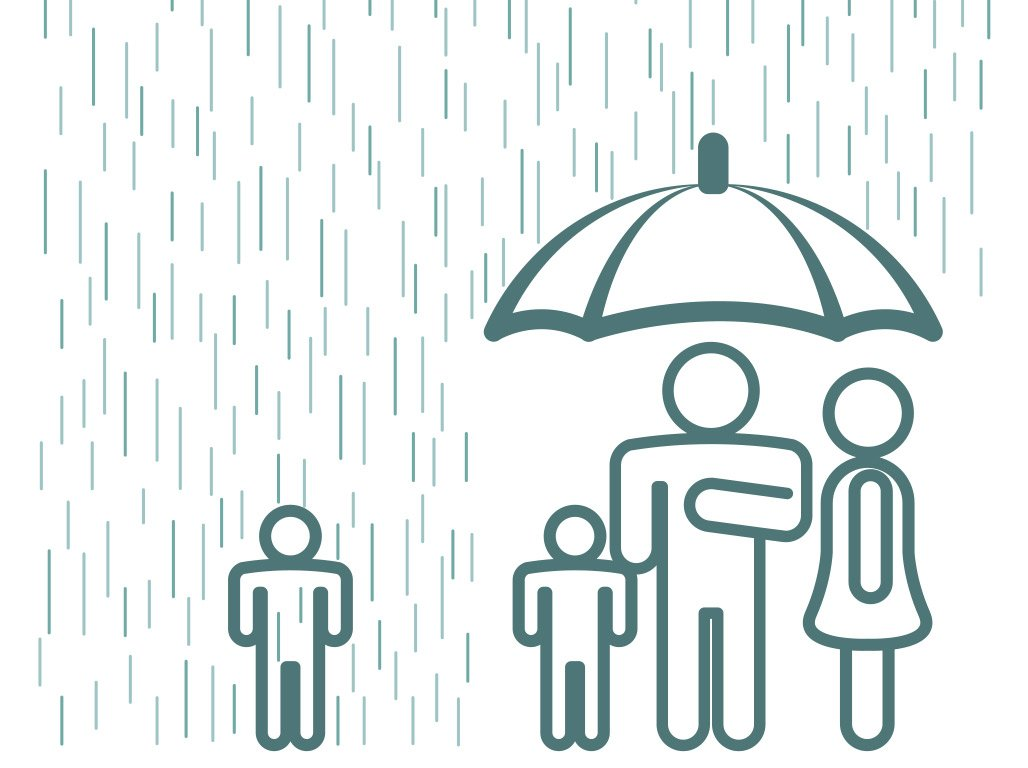 family under umbrella with one child in rain