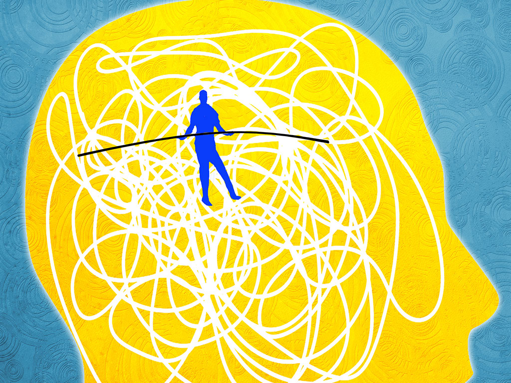Person on tightrope in brain