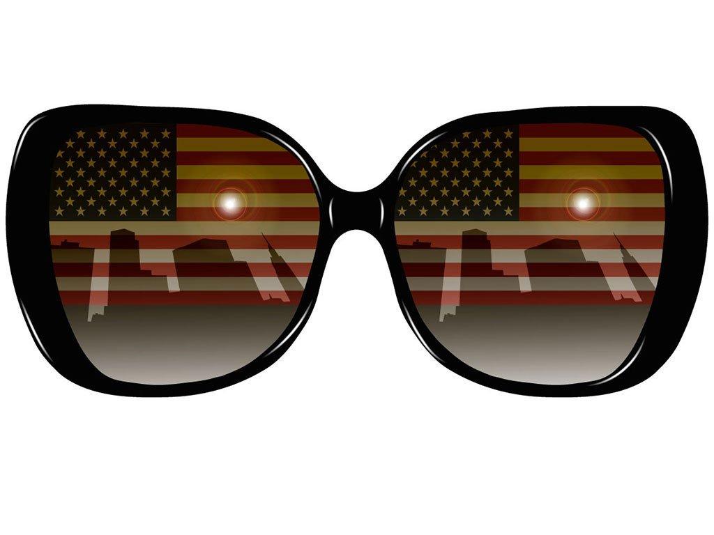 Sunglasses with USA flag