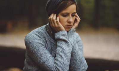 Sad young woman alone
