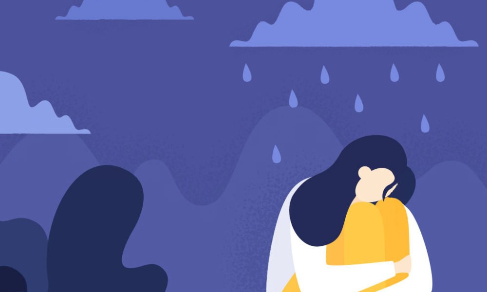 Depressed woman cartoon