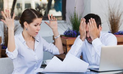 Woman and man disagreeing