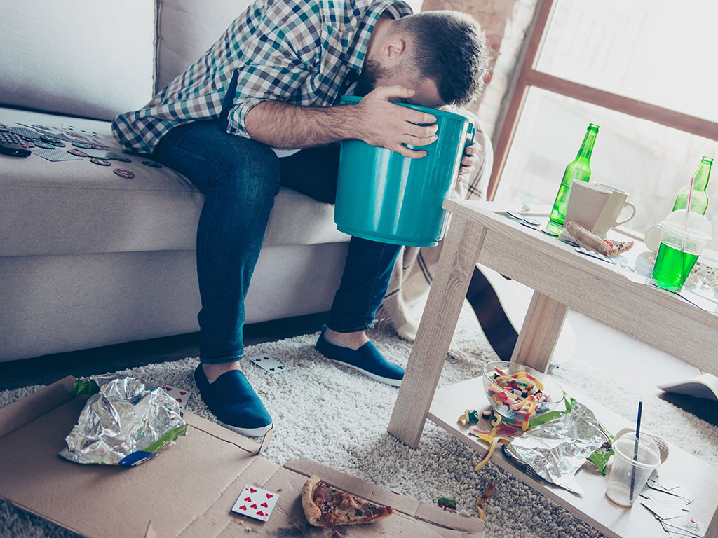 Man sick from binge drinking