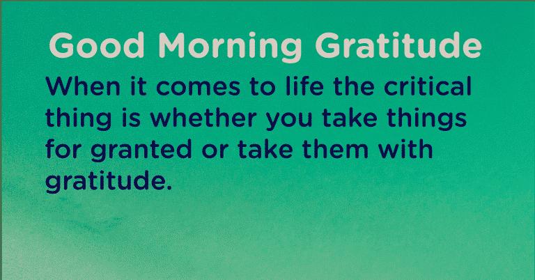 Good morning Gratitude critical