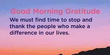 Good morning Gratitude thank