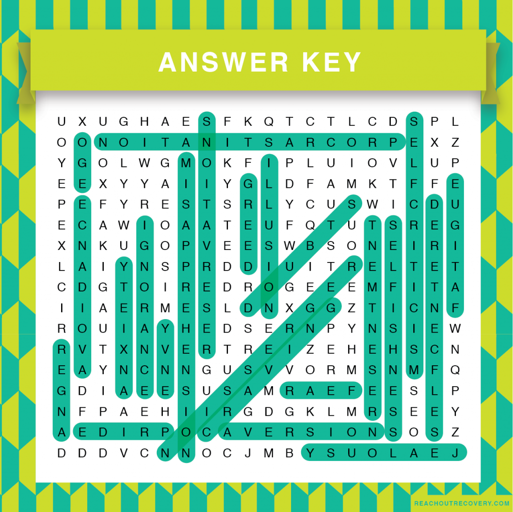 Obstacles to healing is a new recovery word search