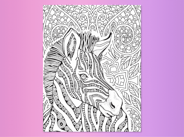 Zebra coloring page from Steps 7 and 8 Find your true colors