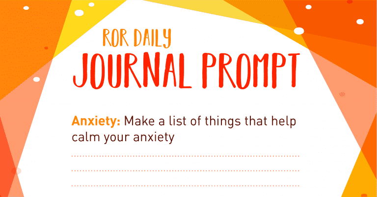Anxiety journal prompt calming list