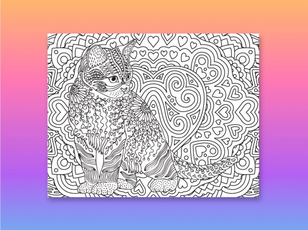 Cat Coloring page for 2021 calendar
